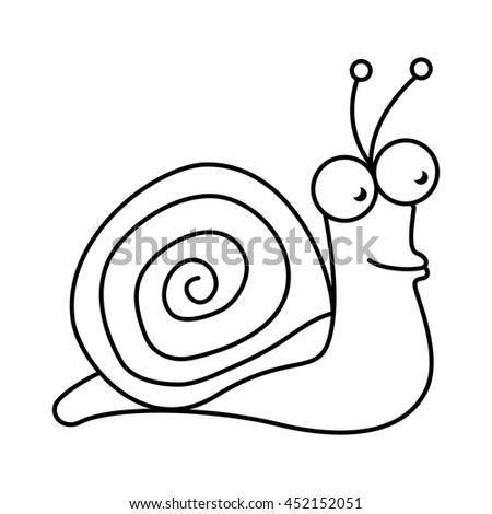 Snail cute pet graphic design, vector illustration isolated icon. - stock vector