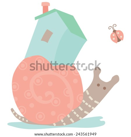 Snail House Side View / Whimsical Illustration A snail carrying his house on his back accompanied by a ladybug. A fun discovery in a summer garden. Easy to edit vector done in soft pastels.   - stock vector