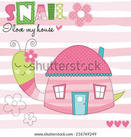snail house vector illustration - stock vector