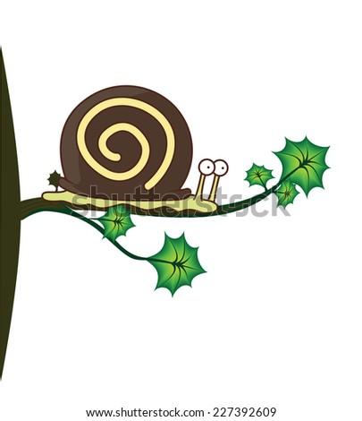 snail on tree vector design  - stock vector