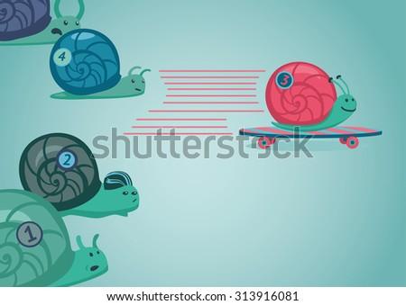Snail races. Vector illustration. - stock vector