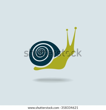 Snail symbol isolated on blue background. Flat colors silhouette. Vector illustration - stock vector