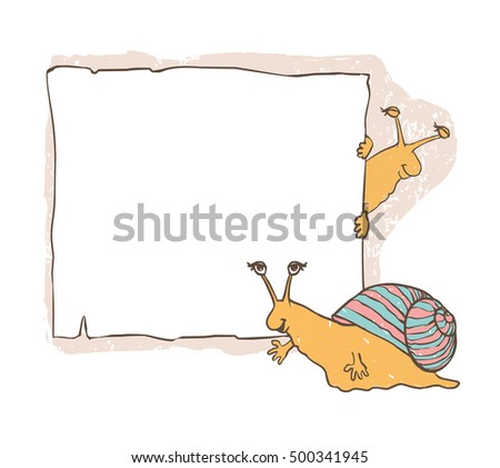 Snail with frames. Children's vector cute background.