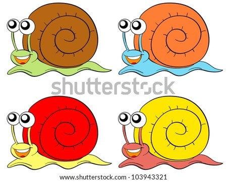 Snails in four colours on white background