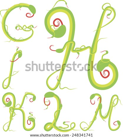 snake alphabet vector; reptile alphabet vector; easy for edit; green alphabet vector - stock vector