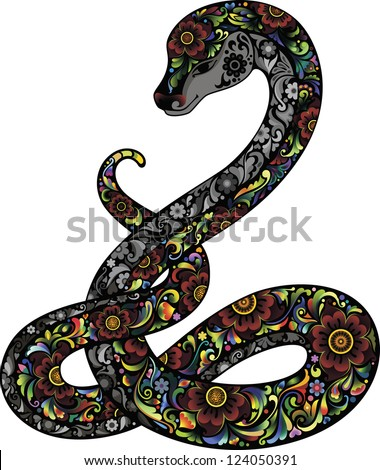 Snake and Flowers - stock vector