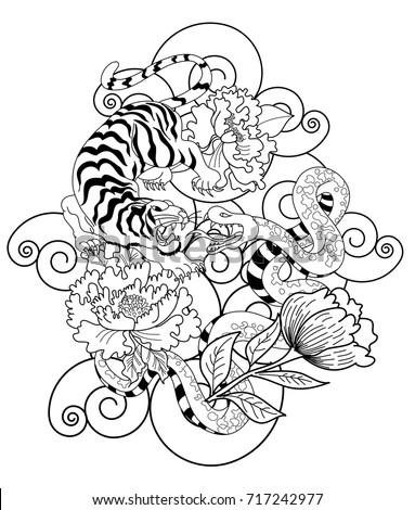 snake tiger tattoo peony flowertraditional japanese stock vector 717242977 shutterstock. Black Bedroom Furniture Sets. Home Design Ideas