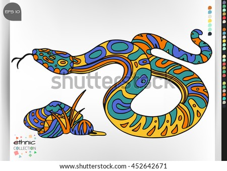 Snake. Animal patterns with hand-drawn doodle waves and lines. Vector illustration in bright colors.