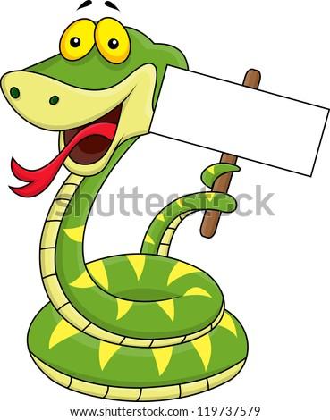 Snake cartoon holding blank sign - stock vector