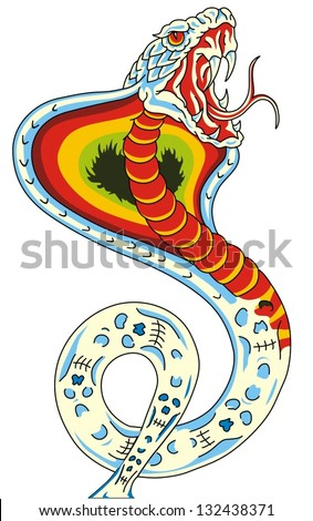 Snake, Cobra in the form of a tattoo - stock vector