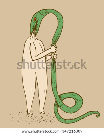 Snake devours the head of a man - stock vector