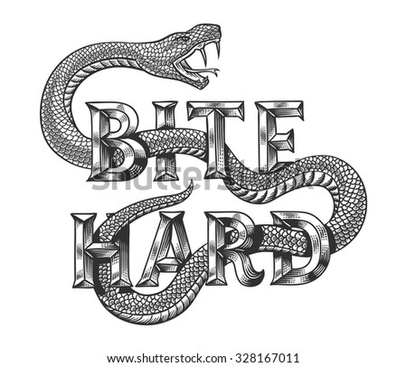 """Snake graphic illustration with engraved slogan """"Bite hard"""". Isolated on white background. - stock vector"""