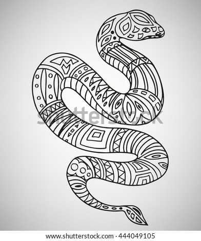 Snake. Hand-drawn with ethnic pattern. Coloring page - isolated on a white background. Zendoodle patterns. Vector illustration.