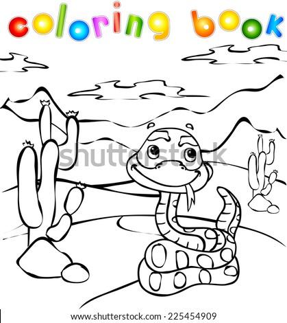 Snake in desert coloring book. Vector illustration for children - stock vector