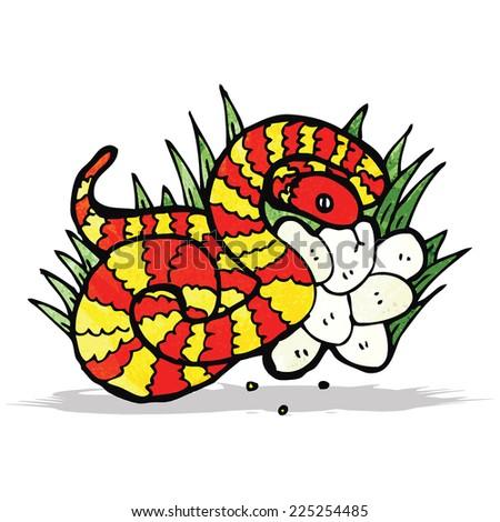 snake on nest of eggs - stock vector