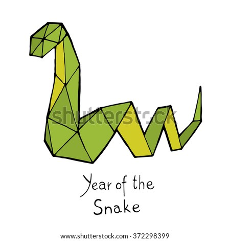 Snake origami, Chinese Zodiac. Hand drawn vector illustration