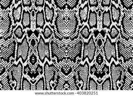 Snake python skin texture. Seamless pattern black on white background - stock vector