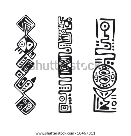 snake's pattern and decoration illustrated in black on white - stock vector