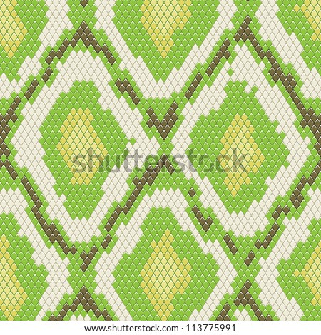 Snake skin seamless pattern with green color - stock vector