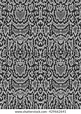 Snake skin texture. Seamless pattern black and white background