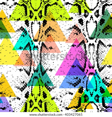 Snake skin texture seamless pattern. black magenta orange lilac pink purple blue beige print, Geo ethnic hipster backdrop modern trendy  Geometric abstract background for site, blog, fabric. Vector  - stock vector