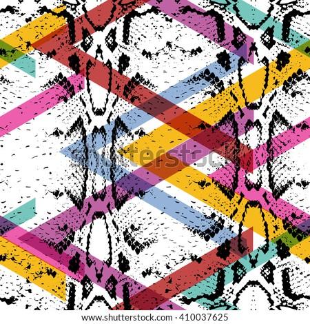Snake skin texture seamless pattern. black magenta orange pink purple lilac green stripes, Geo modern Geometric abstract background fashion creative art print for design textile blog fabric. Vector - stock vector