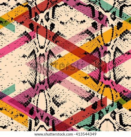 Snake skin texture seamless pattern. black magenta orange pink purple print, Geo ethnic modern trendy Geometric abstract background fashion creative art print for design site textile fabric. Vector - stock vector