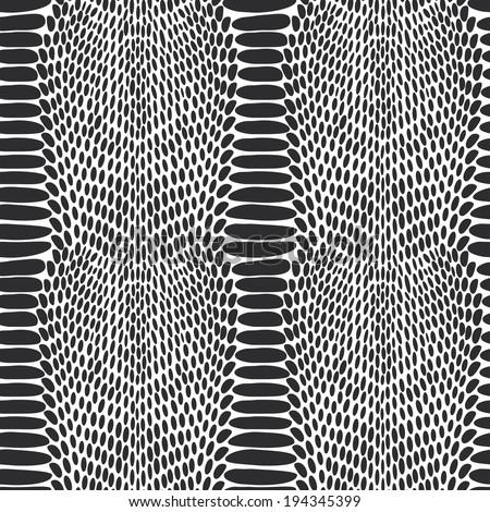 Snake skin texture. Seamless pattern black on white background. Vector - stock vector