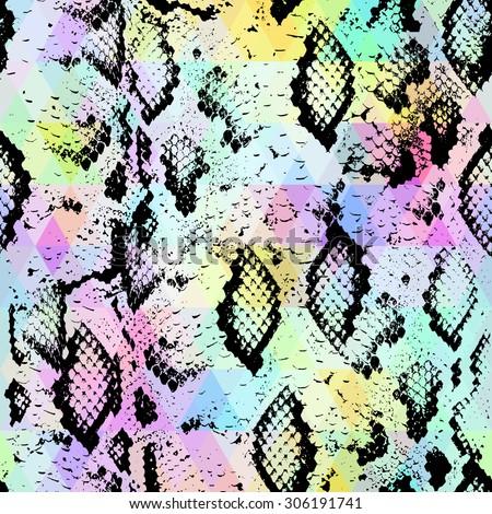 Snake skin texture  with colored rhombus. Geometric background. Seamless pattern black rainbow green purple blue yellow background, colorful psychedelic geometric mosaic ornament triangle. Vector - stock vector