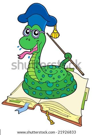 Snake teacher in open book - vector illustration. - stock vector