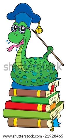 Snake teacher on pile of books - vector illustration. - stock vector