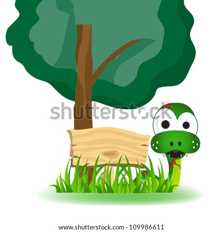snake under a shady tree with a blank board - stock vector