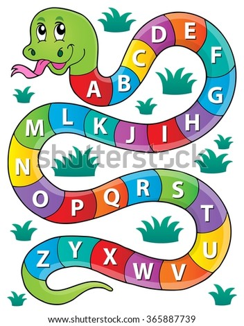 Snake with alphabet theme image 1 - eps10 vector illustration. - stock vector