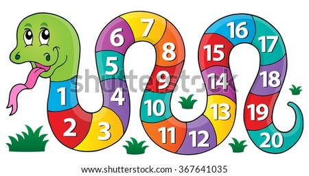 Snake with numbers theme image 1 - eps10 vector illustration. - stock vector
