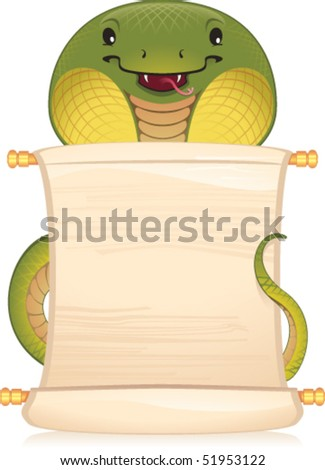Snake with scroll - symbol of Chinese horoscope - stock vector