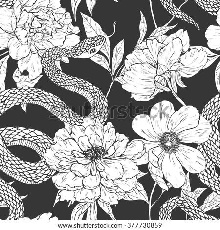 Snakes and flowers. Tattoo art, coloring books. Hand drawn vintage vector seamless pattern. - stock vector