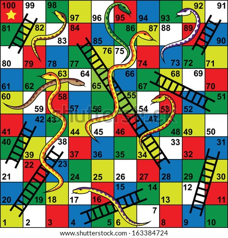 Snakes ladders board game snakes ladders stock vector for Printable snakes and ladders template