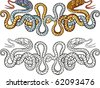 snakes tattoo design - stock vector
