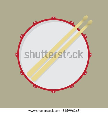 Snare drum and drumsticks - stock vector