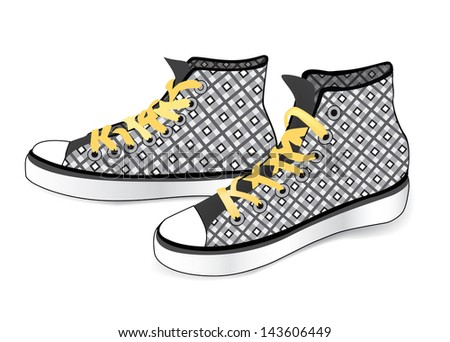 Sneaker isolated. Sports shoe from fashion checkered fabric - stock vector