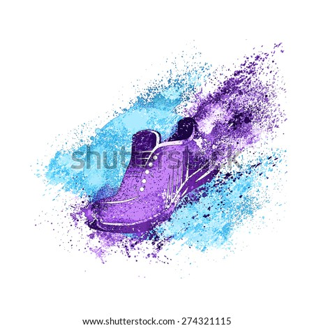 Sneaker Splash Paint Shoes Run Concept Vector Illustration - stock vector