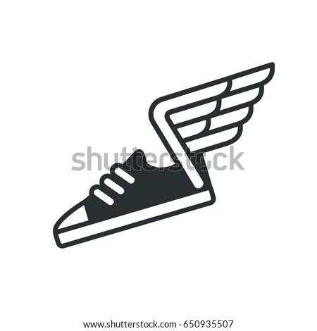 sneaker wings icon vector sports shoe stock vector 650935507