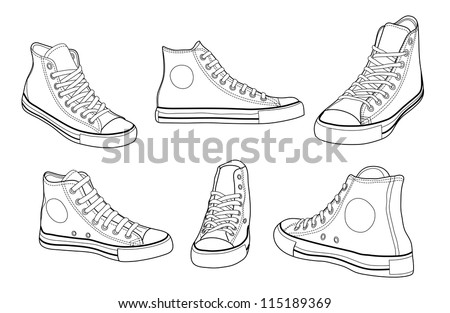 Sneakers at various angles outline vector illustration - stock vector
