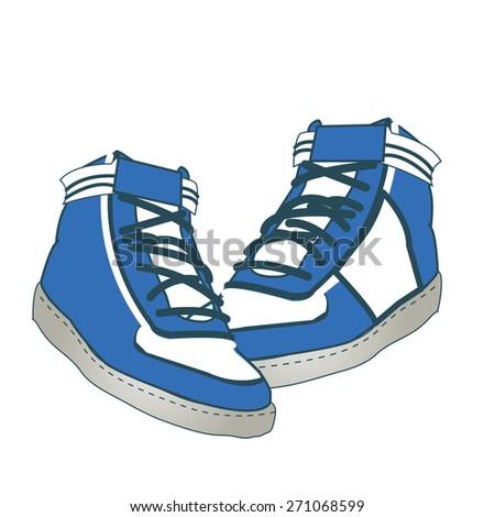 Sneakers blue vector  - stock vector