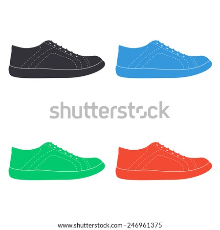 sneakers icon - colored vector illustration - stock vector