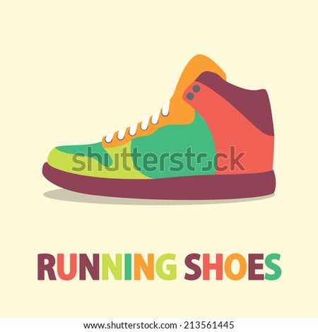 Sneakers icon in flat design with shadow - stock vector