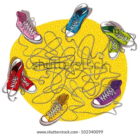 SNEAKERS MAZE GAME :      task: Connect shoes which are linked with the same shoelace!   answer: pink and red; blue and purple; green and orange. - stock vector