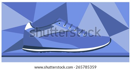 Sneakers on the background of blue geometric shapes. vector  - stock vector