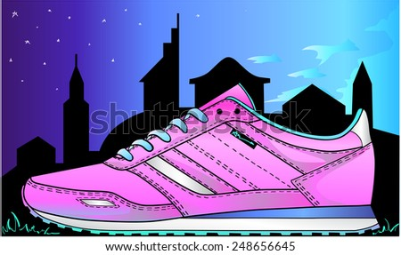 Sneakers on the silhouette of the city. - stock vector