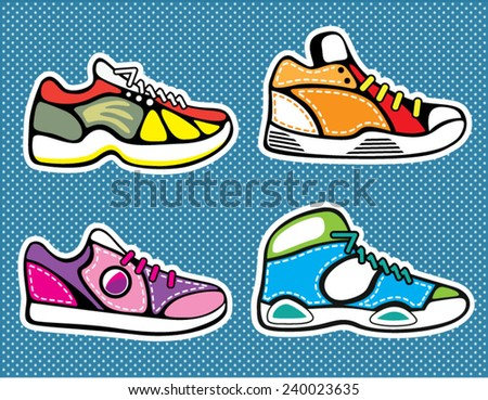 Sneakers pop art vector - stock vector
